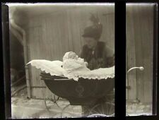 PLAQUE VERRE PHOTO NEGATIF circa.1914 MERE ET FILS mother & son  (B29)