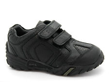 Buckle My Shoe Infant Boys UK 9 Black Leather Dig Touch School Shoes Trainers