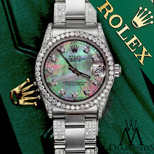Women's 31mm Rolex s/s Oyster Perpetual Datejust Custom Black MOP Color Dial
