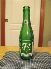Vintage 7up Soda Bottle 7 oz Green All White ACL-Glenshaw Glass Co
