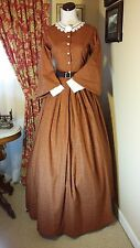 Civil War Reenactment Day Dress Size 10 Copper Floral with Pagoda Sleeves