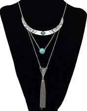 New Fashion Gold/Silver Plated Long Chain Moon Pendant Tassel BIb Necklace