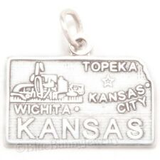KANSAS City State Map Wichita Topeka Solid 925 STERLING SILVER Oz Charm Pendant