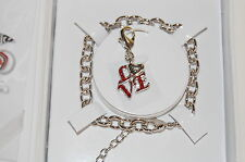 NWT Guess Silver Metal/Red Rhinestone LOVE Charm Bracelet Exclusive Line, Boxed
