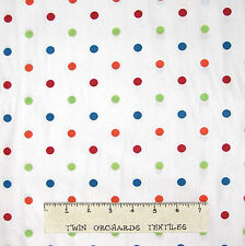 Polka Dot Fabric - Red Orange Green Blue Dots on White - Cotton YARD x 58/60""