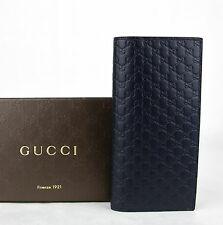 $625 Gucci Men's Blue Microguccissima Leather Wallet w/ ID window 449245 4009