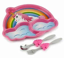 Urban Trend Kids Funwares Unicorn Dinner Plate & Utensil Meal Set FREE FAST SHIP