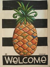 """Welcome"" Pineapple on Black & White Stripes, Southern Hospitality Garden flag"