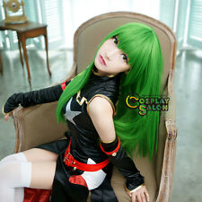 Green Long Straight Heat Resistant Code Geass C.C Anime Cosplay Wig Full Wigs