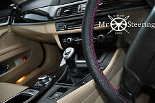 Pour vw polo MK5 2009+ perforé volant en cuir couverture rose chaud double st
