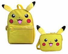 "Pokemon Pikachu 16"" Large School Backpack Lunch Bag 2pc Set Plush Ear"