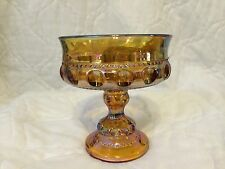 Indiana Glass Carnival Amber Gold Compote King's Crown Pedestal Candy Dish