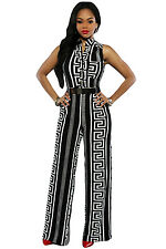 SEXY BLACK WHITE AZTEC BELTED PALAZZO FITTED JUMPSUIT DRESS SIZE 8 10 12 14 UK