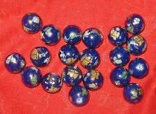WHOLESALE LOT OF 20 -10MM LAPIS INLAY GEMSTONE GLOBE WORLD GLOBES BEADS