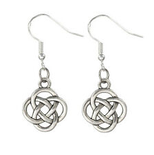 Silver Alloy Round Knot Dangle Celtic Tribal Earrings 925 Sterling Silver Hooks