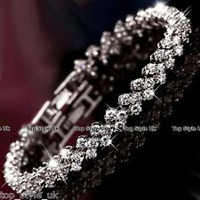 925 Silver Crystal Diamante Rhinestone Gem Bridal Wedding Tennis Bracelet Gift *