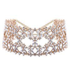 Luxury Diamond Crystal Rhinestone Flower Pendant Choker Necklace Jewelry Silver