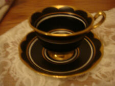 Rare Royal Albert Black and gold footed cup and saucer duo 1st