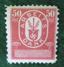 NAZI GERMANY 50 PFENNIGS RED ARBEITS DANK LABOR DUES REVENUE STAMP 1933-37 MINT