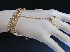 NEW WOMEN CHUNKY BRACELET GOLD METAL MULTI CHAINS FASHION SLAVE TRENDY RING
