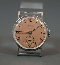 WWII A.SCHILD EDVINA SWISS GERMAN ARMY SOLDIER MEN WRIST WATCH MINT COPPER DIAL