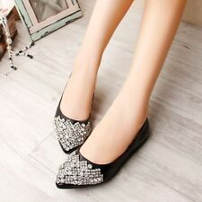 Casual Women Rhinestone Crystal Pointed Toe Pumps Womens Ladies Flat Party Shoes