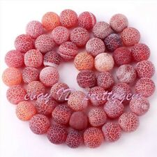 """8MM FROST ROUND SHAPE CRACKED RED AGATE LOOSE GEMSTONE BEADS STRAND 15"""""""