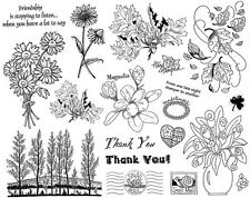 Unmounted Rubber Stamp Sheets, Flowers, Leaves.Trees, Roses, Daisies, Thank You