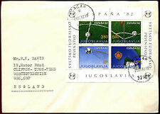 Yugoslavia 1982 World Cup Football Championship M/S On Cover To UK #C37188