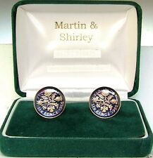 1966 6D cufflinks from real coins in Blue & Gold