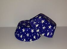Grease-resistant Blue with white stars standard size cupcake liners/baking cups