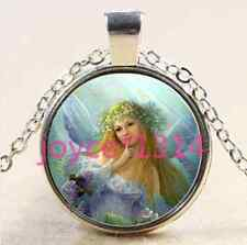 Vintage Angel Cabochon Tibetan silver Glass Chain Pendant Necklace &XP-2472