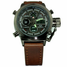 45mm Multi Function Military Steel Diver Boat Frogman Quartz LCD Watch Sub Sport