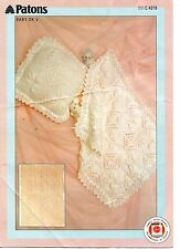 Patons 4219 Vintage Baby Knitting Pattern DK Shawl Blanket Pillow