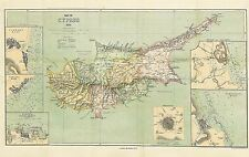 MAP REPRO ANTIQUE 1878 STANFORD CYPRUS INSET TOWNS LARGE ART PRINT LF871