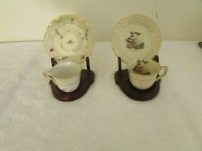 lot of 2 Miniature Limodes Cups Saucers One Pompadour One Pillement