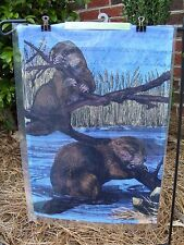 """Beavers chew Branches to build a dam on Lake decorative HOUSE Flag 28""""x40"""""""