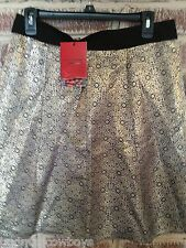 Narciso Rodriguez By Design Nation Gold Jaquard A-Line Skirt Size 8 NWD