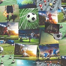 Fine Decor Wallpaper - Novelty Football Collage - Green Boys Kids Room - FD41915