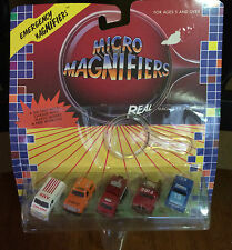 VINTAGE MICRO MAGNIFIERS DIE CAST EMERGENCY FIRE POLICE EMS - 1987 - NEW ON CARD