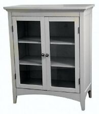 Bathroom Floor Cabinet 2 Door Laundry Room Pantry Storage Utility Linen Display