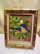 "VTG Signed Gris Mixed Media Yellow Birds On Leaves Collage Oil Painting 11""x 13"""