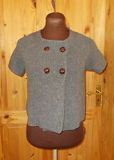 BANANA REPUBLIC grey knit short sleeve 100% MERINO WOOL cardigan jumper M 12-14