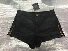 "BNWT "" TOPSHOP "" BLACK FAUX LEATHER SHORTS WITH SIDE ZIPS - UK 4 ! RRP £30 !"