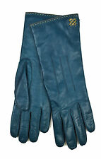 [84 62] COACH WOMENS 81918 MOROCCAN BLUE GENUINE LEATHER CASHMERE GLOVES SZ 7.5