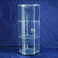 "Large Three Level Rotating Acrylic Showcase With Locking Door 19"" Tall"
