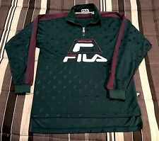 VTG 90s FILA Sport All Over Print Hip Hop Jacket Polo Jersey Pullover Zip Shirt