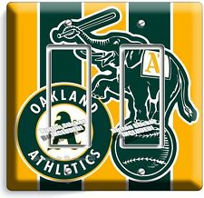 AS OAKLAND ATHLETICS BASEBALL TEAM DOUBLE GFI LIGHT SWITCH WALL PLATE COVER ROOM