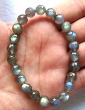 AAA Natural Labradorite Faceted Round Beads Stretch Bracelet 8mm