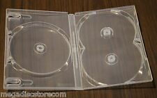 10 Pk Scanavo Clear Standard 3 DVD Case Box 14 mm Triple Discs Holder No Tray